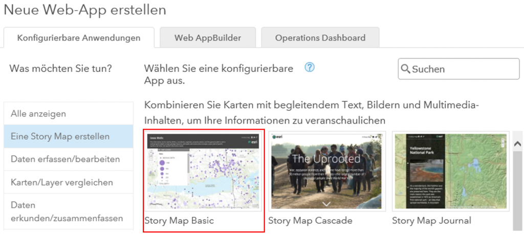 Story Map Basic in ArcGIS Online erstellen