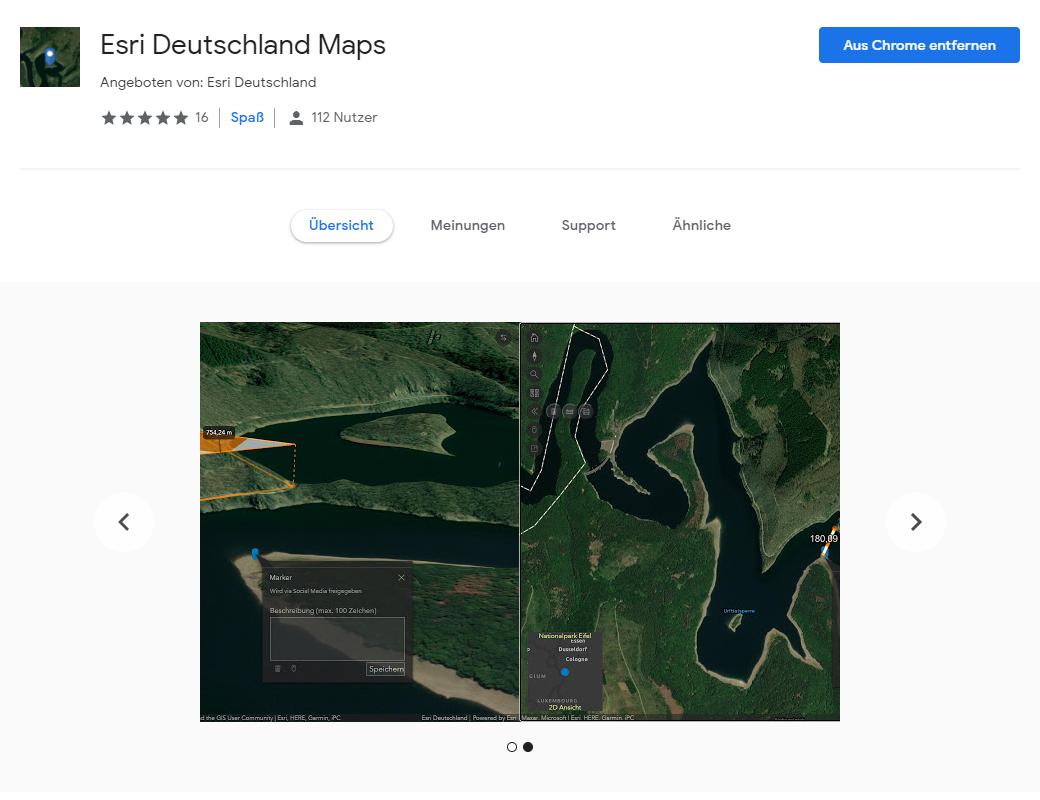 Google Chrome Extension «Esri Deutschland Maps»