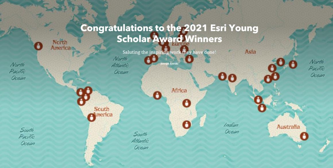 StoryMap mit allen Esri Young Scholars 2021